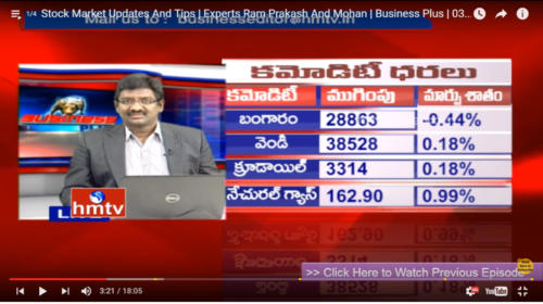 Mohan Hmtv Business Plus Live 09 June 2016