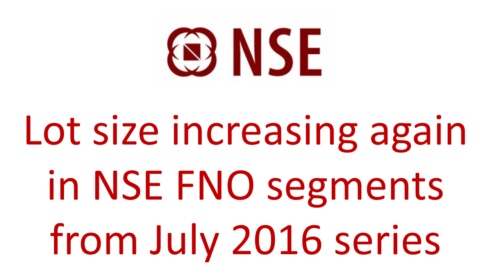 Lot size increasing again in NSE FNO segments from July 2016 series